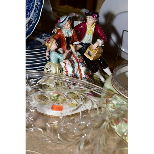 590 - CERAMICS AND GLASS to include a Dresden style family group, approximate height 21cm, impressed Regis...