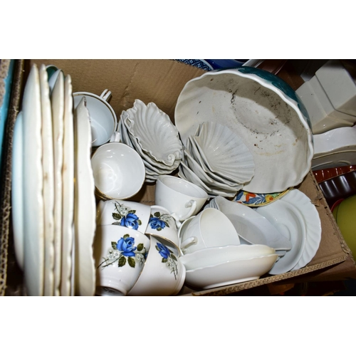 591 - NINE BOXES OF CERAMICS AND GLASS ETC, to include Royal Worcester ramekins, Wedgwood 'Kutani Crane' W...