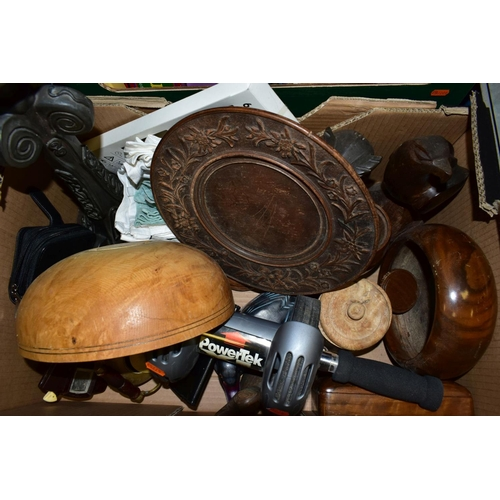 593 - TWO BOXES AND LOOSE SUNDRY ITEMS, to include stainless steel Bain Marie with four oval serving platt...