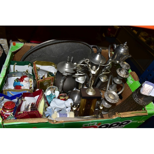 597 - THREE BOXES AND LOOSE SUNDRY ITEMS, to include a 1 Troy ounce silver  ingot 999 quality, two claret ...
