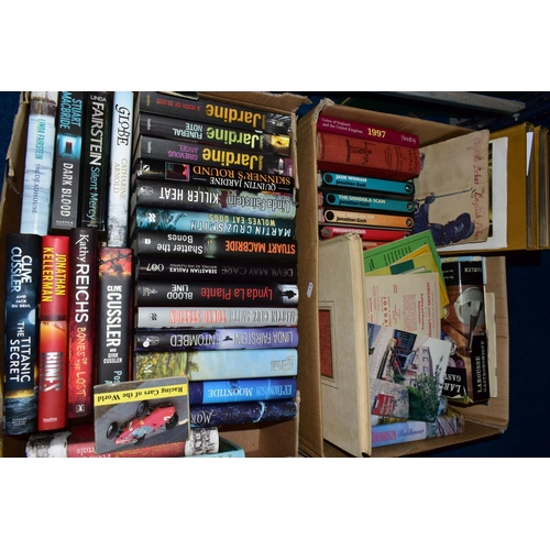 598 - TWO BOXES OF BOOKS, to include Jonathan Cash novels, Quintin Jardine, Lynda Le Plante, Clive Cussler...
