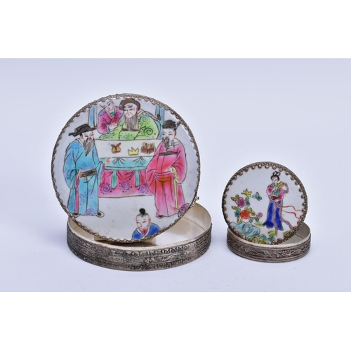60 - TWO ORIENTAL ROUND BOXES, both with mirrors inside, one measuring 100mm in diameter and the other 58...