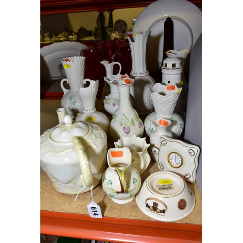614 - A COLLECTION OF FIFTEEN PIECES OF BELLEEK AND OTHER MODERN IRISH PORCELAIN, including Donegal china,...