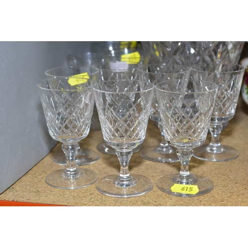 615 - A SMALL GROUP OF CLEAR GLASSWARE, including a set of seven Webb sherry glasses, a Stuart Crystal foo...