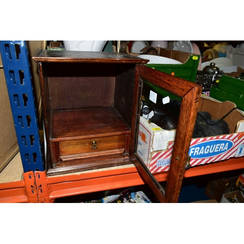 617 - AN EDWARDIAN OAK AND PINE SMOKERS CABINET AND TWO BOXES OF MISCELLANEOUS ITEMS, including a pair of ...