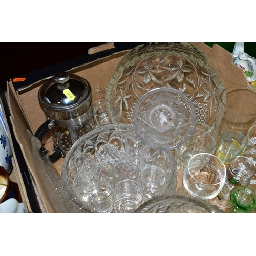 618 - FIVE BOXES AND LOOSE CERAMICS AND GLASSWARE, including sundae glasses, drinking glasses, late 19th C...