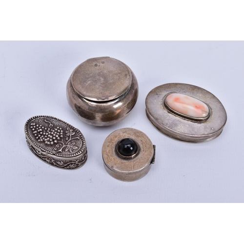 67 - A COLLECTION OF WHITE METAL ASSORTED PILL BOXES, to include an Edwardian silver round box, hallmarke...