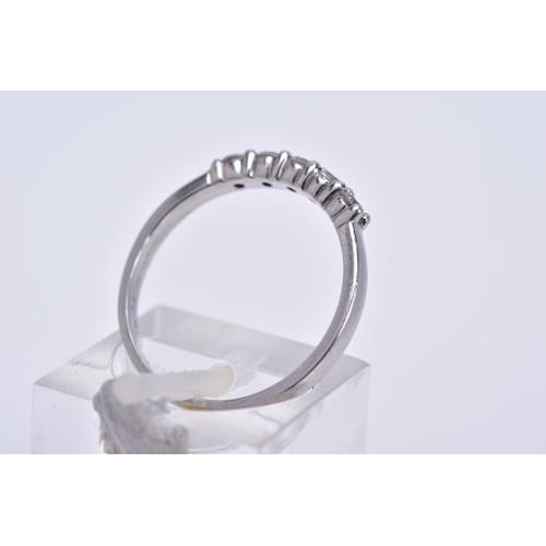 75 - A MODERN PLATINUM DIAMOND FIVE STONE HALF HOOP RING, estimated total diamond weight 0.30ct, ring siz...