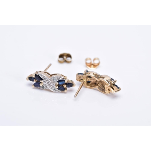 8 - A PAIR OF 9CT GOLD SAPPHIRE AND DIAMOND DROP EARRINGS, each designed with a central cross design set...