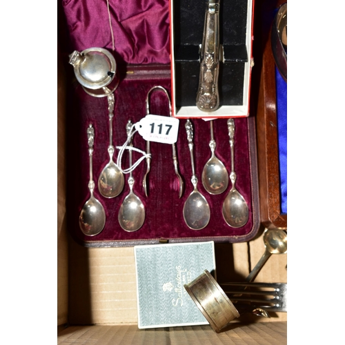 117 - A GROUP OF SILVER AND PLATE, including a cased set of six  Victorian silver apostle top teaspoons an...