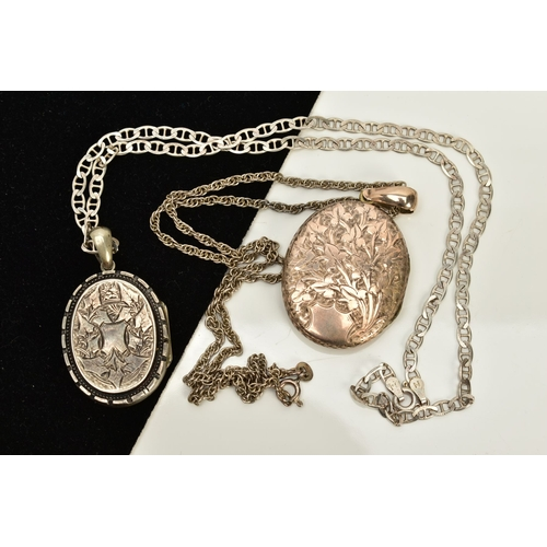 132 - TWO WHITE METAL LOCKET PENDANT NECKLACES, the first of oval design embossed with belt and buckle det...