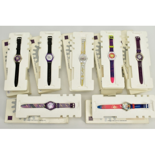 140 - A COLLECTION OF SEVEN SILK CUT WRISTWATCHES, each with different designs to the dials, fitted to bla...