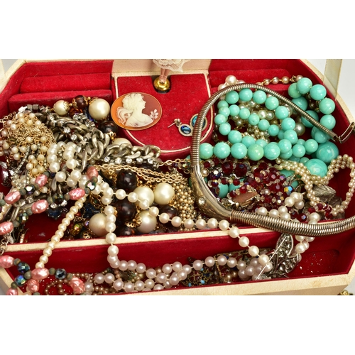 146 - TWO BOXES OF COSTUME JEWELLERY AND ITEMS, contents of the boxes to include imitation pearl necklaces...