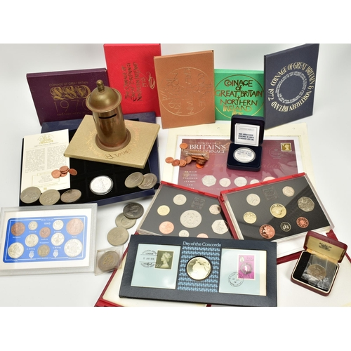 150 - A BOX COINS AND YEAR SETS, to include Royal Mint G.B. and Irelands year sets 1970-76 (6) sets, a 199...