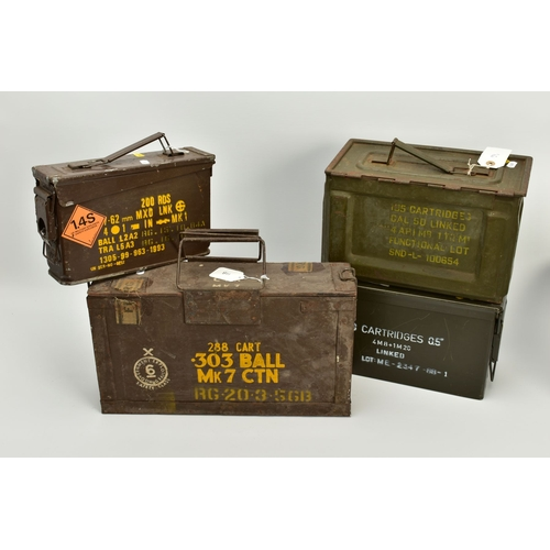 155 - FOUR ORIGINAL AMMUNITION BOXES FOR .303 (WOODEN), 7.62x51 NATO, .50 Browning (UK) and .50 Browning (...