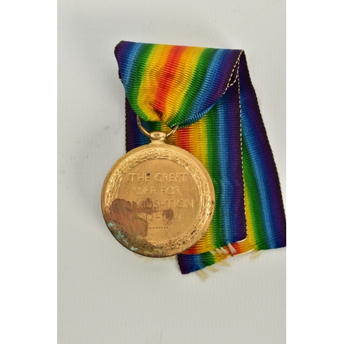 160 - A WWI VICTORY MEDAL, with heavy rusting/verdifris between 4-7 o'clock meaning that only partial deta...