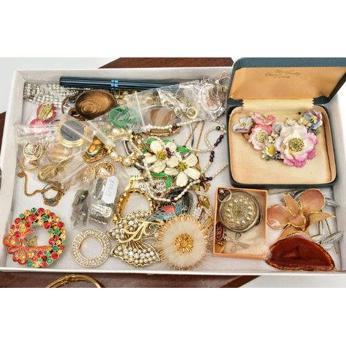 142 - A SELECTION OF COSTUME JEWELLERY, to include a silver floral engraved pocket watch, silver dial, rub...