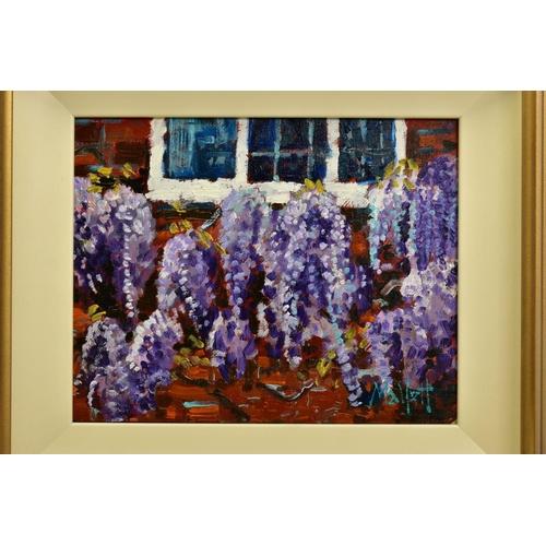 1 - TIMMY MALLETT (BRITISH CONTEMPORARY), 'Wisteria Window', an impressionist study of flowers, signed b...