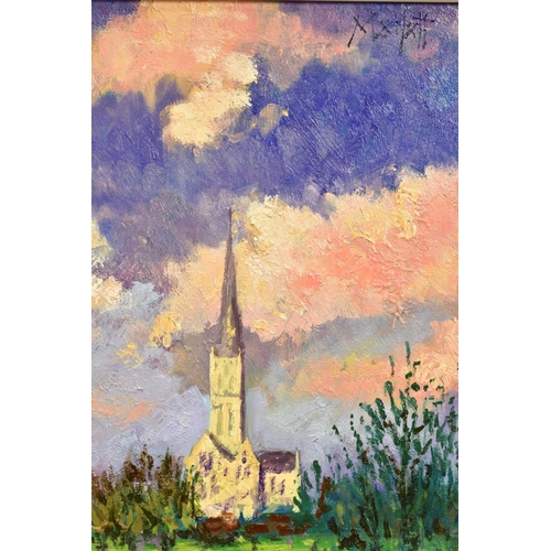10 - TIMMY MALLETT (BRITISH CONTEMPORARY), 'Salisbury Cathedral', an impressionist view across a river, s...