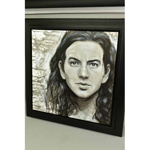 108 - JEN ALLEN (BRITISH 1979), 'Eddie Vedder', a portrait of The Pearl Jam lead singer, signed bottom lef...