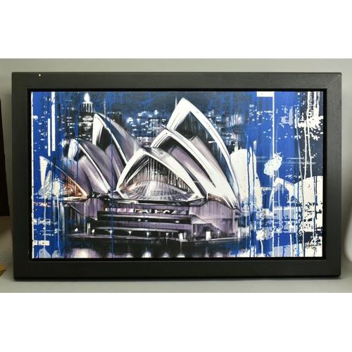 113 - KRIS HARDY (BRITISH 1978), 'Sydney Opera House at Night', signed bottom right, mixed media on canvas...