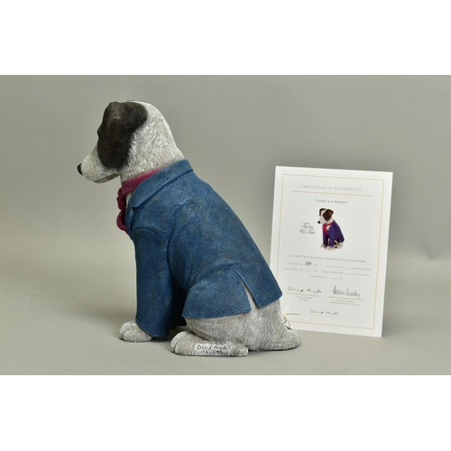 123 - DOUG HYDE (BRITISH 1972), 'Suited and Booted', a Limited Edition sculpture of a Dog, 136/595, impres...