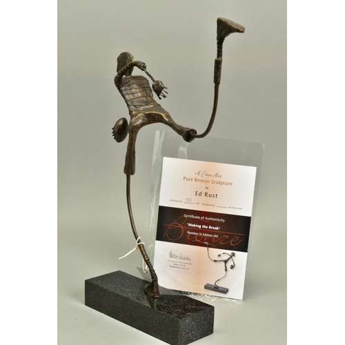 128 - ED RUST (BRITISH CONTEMPORARY), 'Making The Break', a Limited Edition bronze sculpture of a figure w...