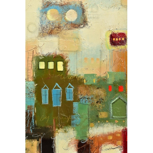 13 - JOHN MILAN (AMERICAN CONTEMPORARY), 'Urban Continuum III', a colourful abstract composition, signed ...