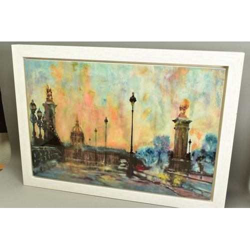157 - ANNIE BLANCHET ROUZE (FRENCH CONTEMPORARY), 'Bonjour Paris', a Parisian cityscape, signed bottom rig...
