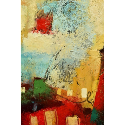 22 - JOHN AND ELLI MILAN (AMERICAN CONTEMPORARY), 'Colour Burst I', a colourful abstract composition from...