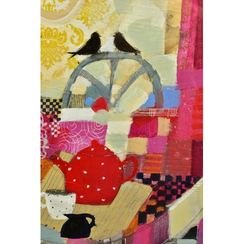 27 - EMMA S. DAVIS (SCOTTISH 1975), 'Tabletop Textiles' a colourful still life study, signed bottom left,...