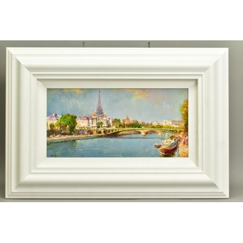 28 - HELIOS GISBERT (SPANISH 1958), 'Parisian Summer', an impressionist view of Paris, signed bottom left...