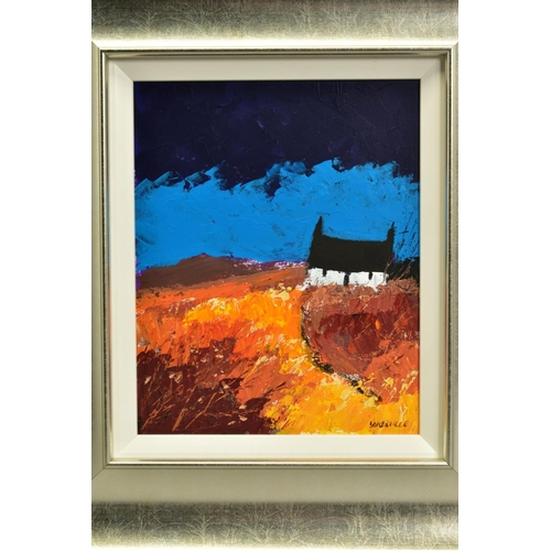 3 - GEORGE SOMERVILLE (BRITISH 1947), 'Fading Daylight', a white cottage under a blue sky, signed bottom...