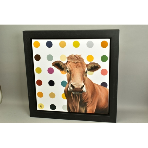 35 - HAYLEY GOODHEAD (BRITISH CONTEMPORARY), 'Ginger', a portrait of a Jersey Cow against a spotted backd...