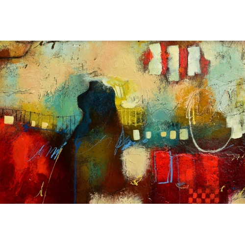 38 - JOHN AND ELLI MILAN (AMERICAN CONTEMPORARY), 'Red Montage', a colourful abstract from the husband an...