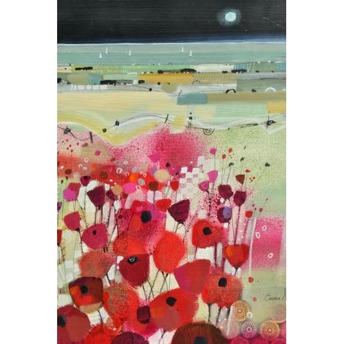 39 - EMMA S. DAVIS (SCOTTISH 1975), 'East Coast Sail', a field of wild flowers, sailing boats beyond, sig...