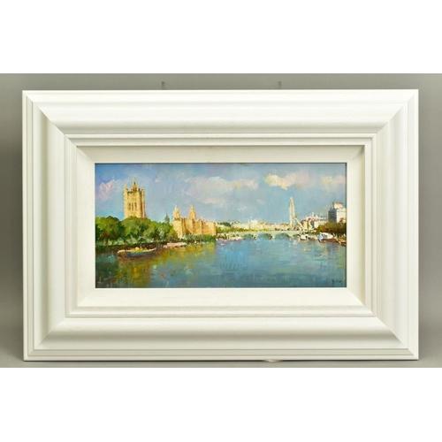 4 - HELIOS GISBERT (SPANISH 1958), 'The Thames, London II', an impressionist view of a London skyline, s...