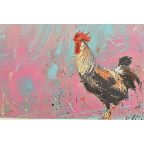 40 - JAMES BARTHOLOMEW (BRITISH CONTEMPORARY), 'Woodpigeons and Rooster', signed bottom left, mixed media...