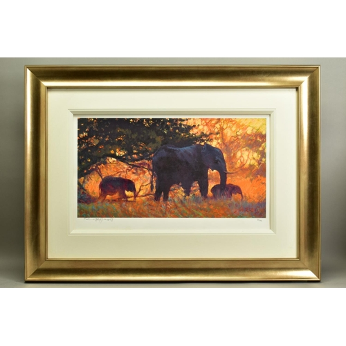 42 - ROLF HARRIS (AUSTRALIAN 1930), 'Backlit Gold', a Limited Edition print of Indian Elephants, 83/195, ...