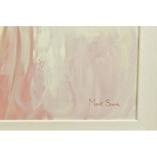 57 - MARK SPAIN (BRITISH CONTEMPORARY), 'Woman In White', a female figure wearing a white dress, signed b...