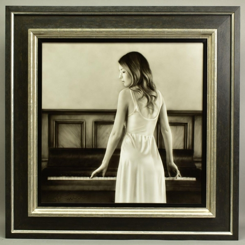 58 - STEVEN SMITH (BRITISH 1974), 'Surprise', a female figure standing at a piano, signed bottom left, ai...