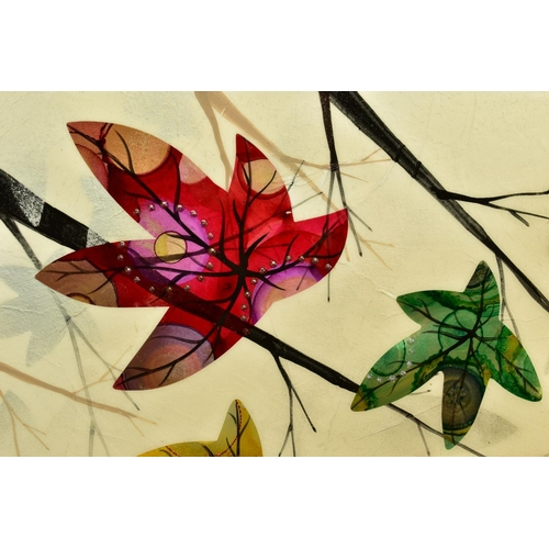 60 - CHLOE NUGENT (BRITISH CONTEMPORARY), 'Woodland Jewels VI', colourful leaves falling from trees, sign...