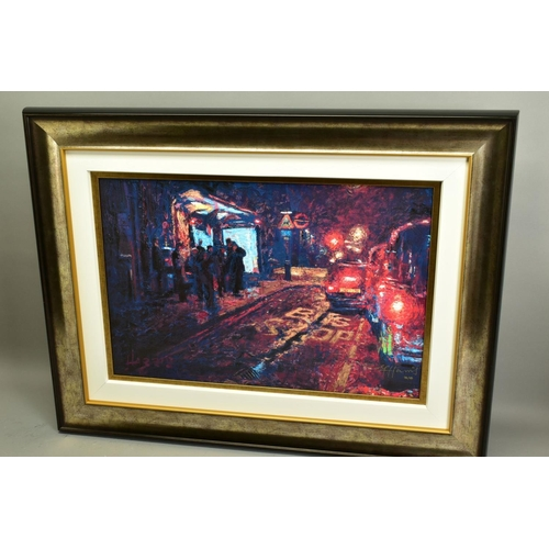 68 - ROLF HARRIS (AUSTRALIAN 1930), 'Bus Stop, Hyde Park Corner', a Limited Edition print of London at ni...