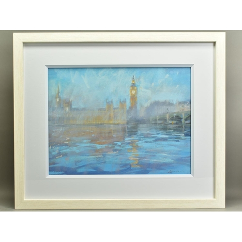 72 - JAMES BARTHOLOMEW (BRITISH CONTEMPORARY), 'House of Parliament I', a view across the River Thames, s...