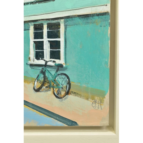 8 - CAMILLA DOWSE (BRITISH 1968), 'Bicycle and Bunting II', a village street scene, initialled bottom le...