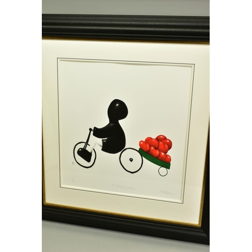 84 - MACKENZIE THORPE (BRITISH 1956), 'A Load of Love', a Limited Edition print of a boy on a bike pullin...