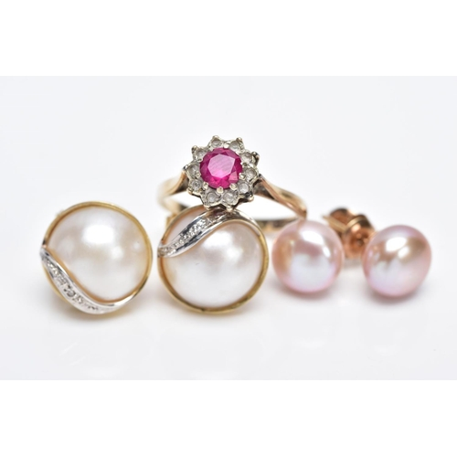 20 - A PAIR OF CULTURED PEARL EARRINGS, A PAIR OF CULTURED MABE PEARL EARRINGS AND A 9CT GOLD RING, the f...