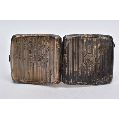 16 - A SILVER CIGARETTE CASE, square form with an engine turn design, with a vacant cartouche, opens to r...