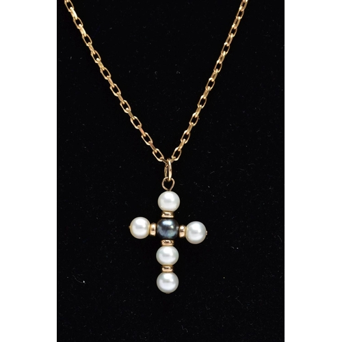 18 - A 9CT GOLD CULTURED PEARL PENDANT NECKLET, the cross pendant made of a central black pearl and white...