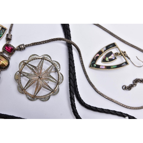 23 - A SELECTION OF WHITE METAL JEWELLERY, to include a pair of triangular openwork drop earrings, set wi...